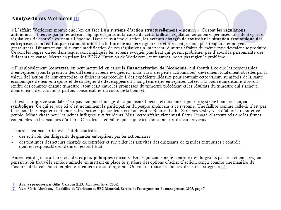 Analyse du cas Worldcom [1]